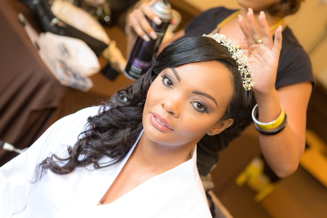 Bride having make up done by Miafarahbeautique for Westin Colonnade Coral Gables wedding by Alfredo Valentine Couture Bridal Photography