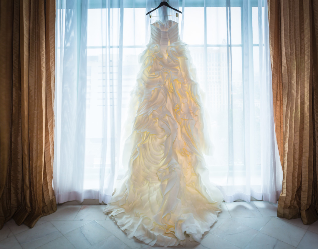 Full length wedding dress light pained by Alfredo Valentine Couture Bridal Photography for Westin Colonnade Coral Gables Wedding