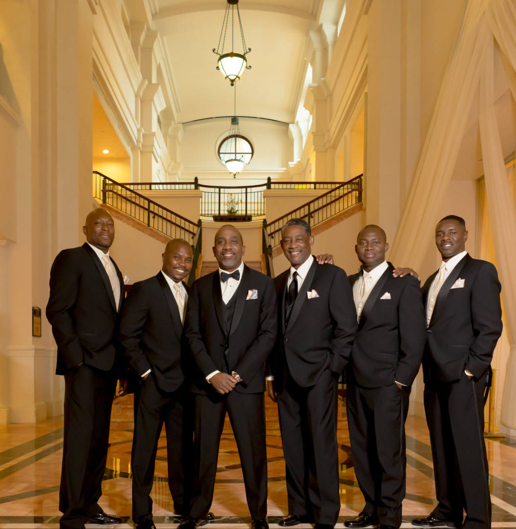 groom with groomsmen in lobby of Westin Colonnade Coral Gables Wedding by Alfredo Valentine Couture Bridal Photography